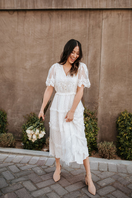 THE LAIKEN LACE MIDI DRESS IN WHITE
