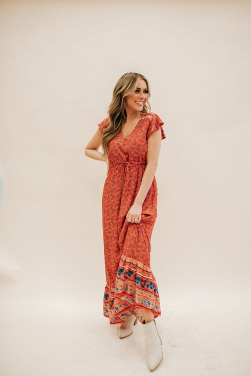 THE FELIX FLORAL MAXI DRESS IN RED
