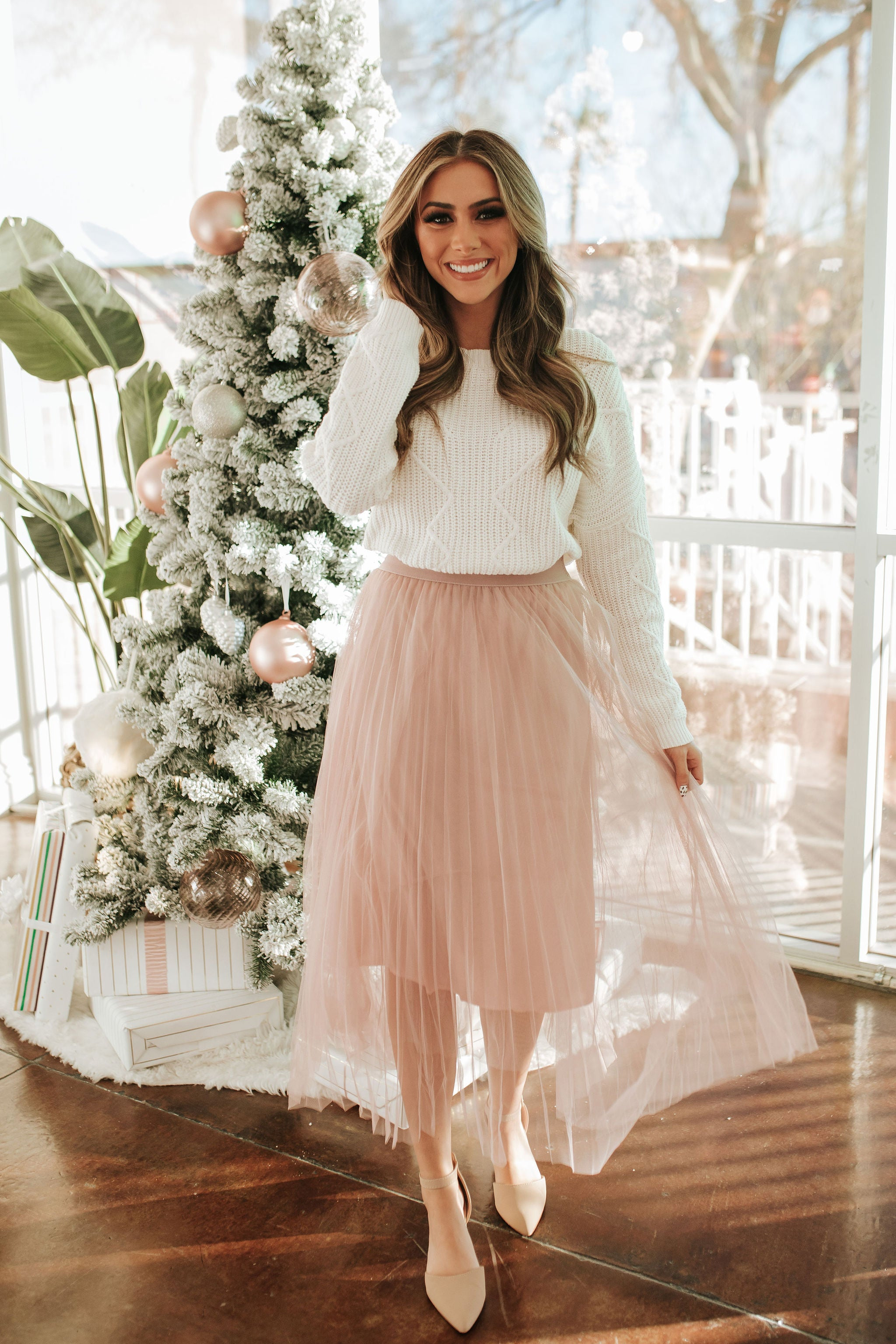 THE MARIA PLEATED MIDI SKIRT IN MAUVE