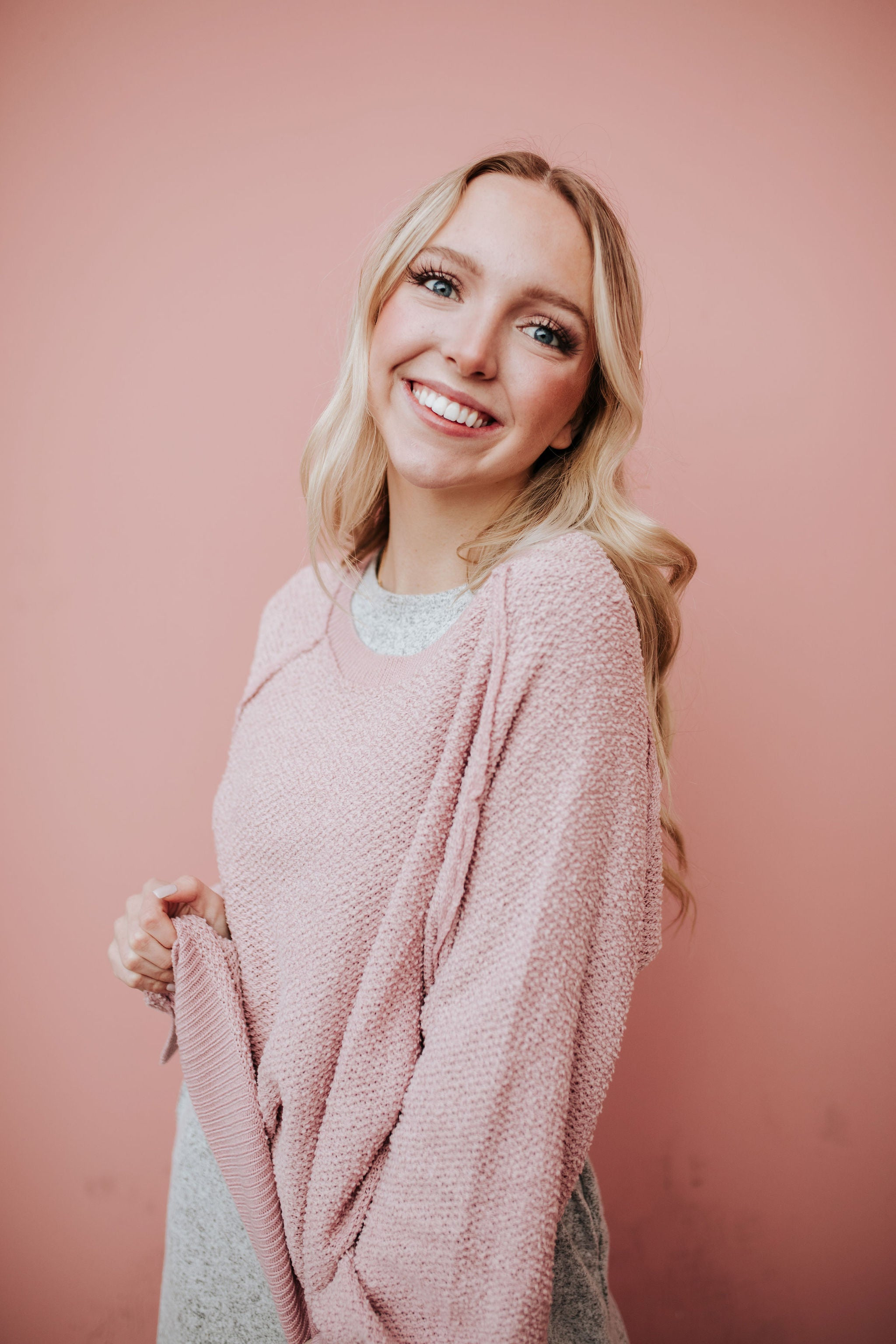 THE CHESNEY KNITTED PULLOVER IN BLUSH