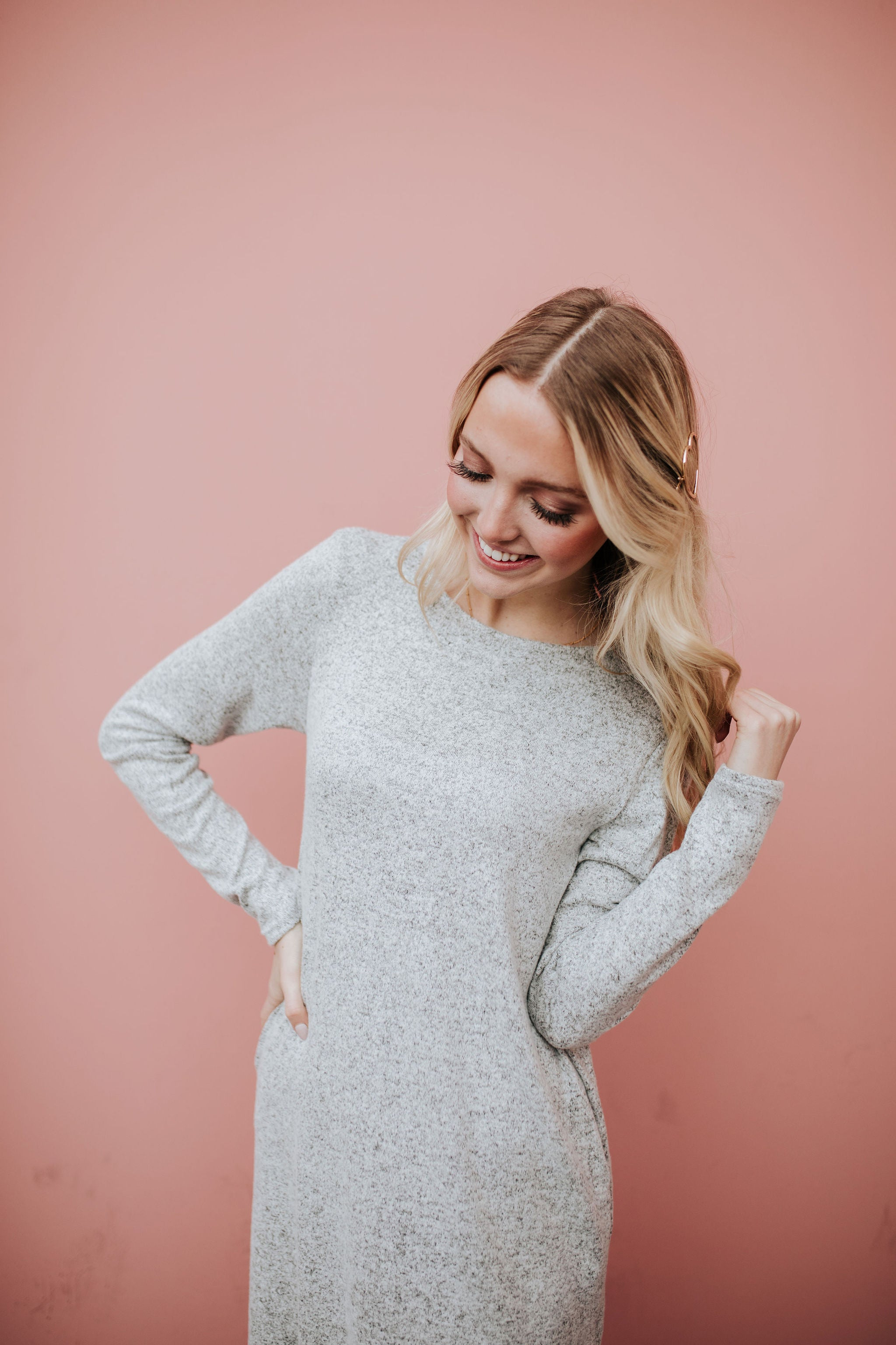THE FRESNO LONG SLEEVE DRESS IN HEATHER GREY