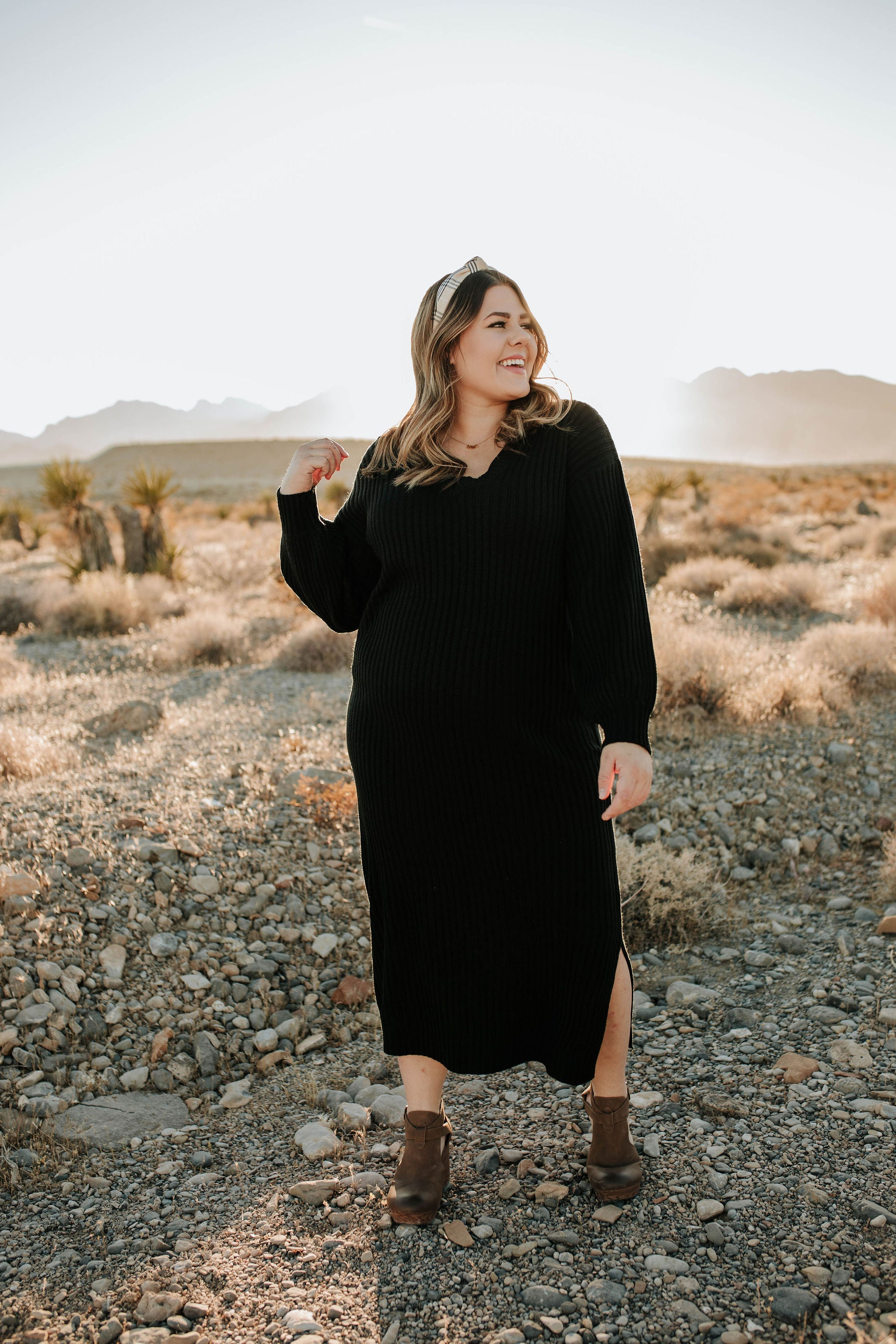 THE SPENCER RIBBED SWEATER DRESS IN BLACK