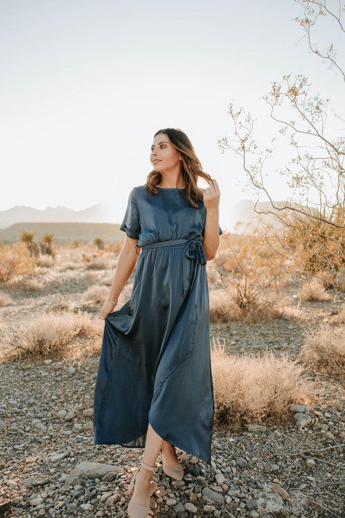 THE SARAH WRAP DRESS IN SATIN BLUE