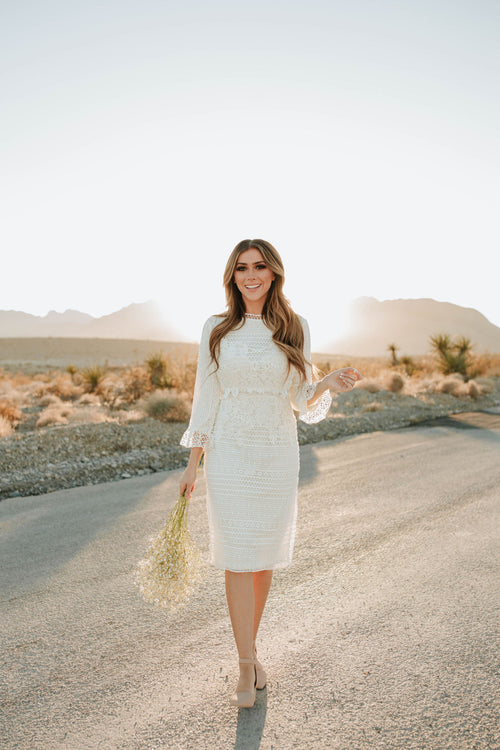 THE LILLIAN LACE MIDI DRESS IN IVORY