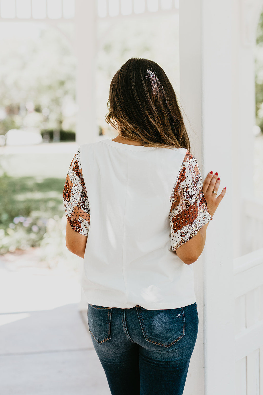 THE PIPER PATCH SLEEVE TOP IN IVORY