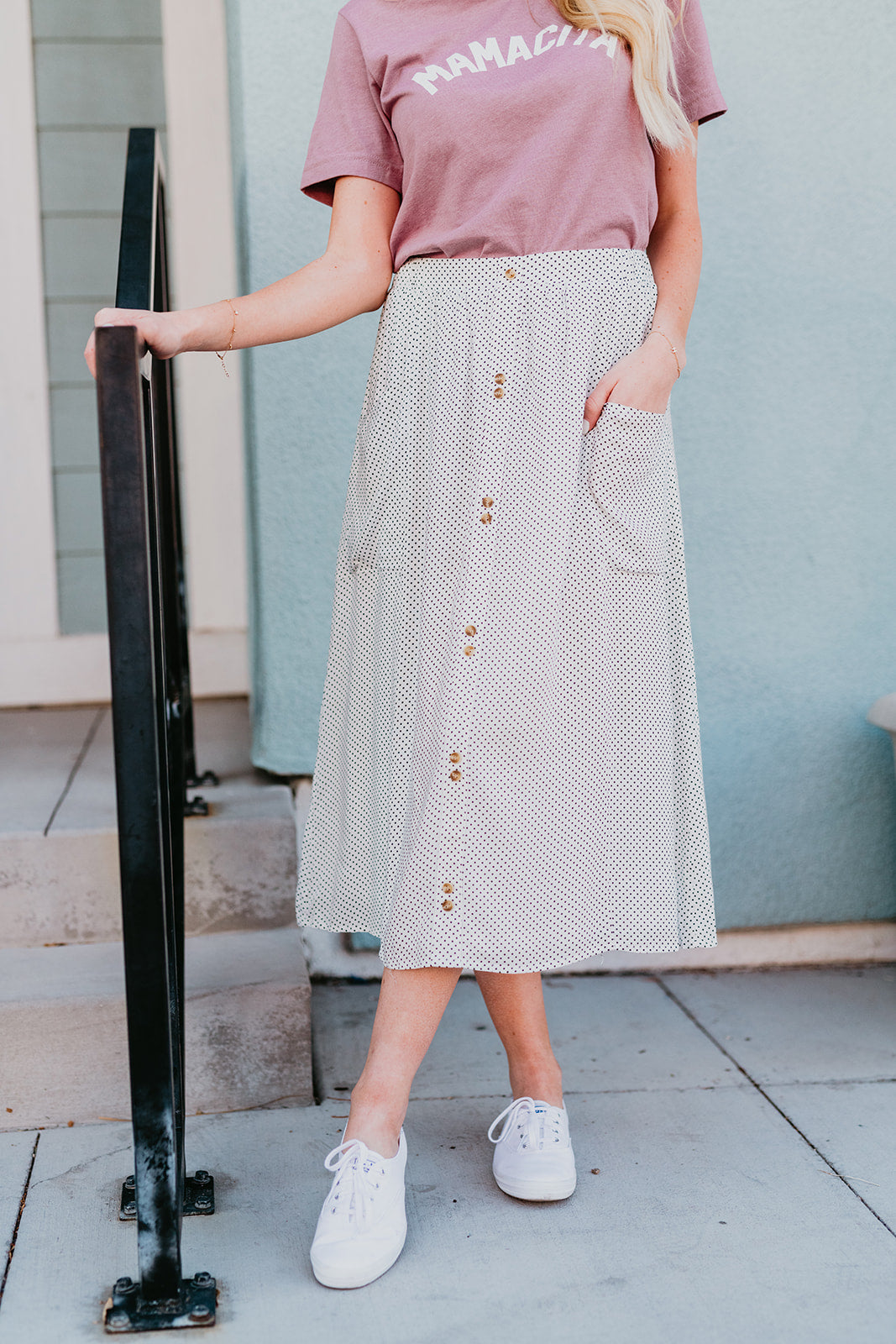 THE DANIELSON DOUBLE BUTTON MIDI SKIRT