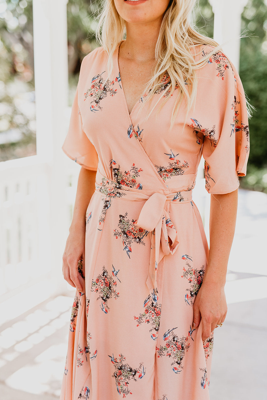 THE MILEY FLORAL WRAP MAXI DRESS IN PEACH