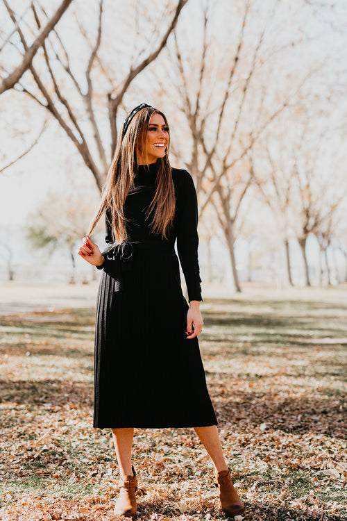 THE HARPER SWEATER DRESS IN BLACK