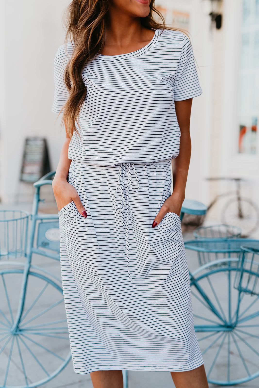 THE EVERMORE STRIPED MIDI DRESS IN IVORY