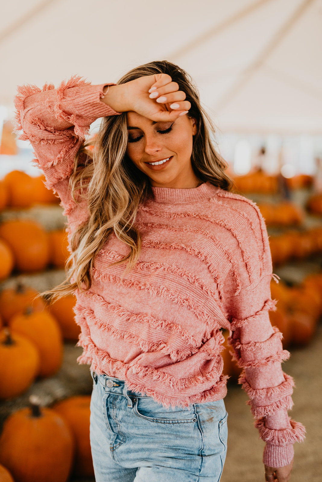 THE FITZGERALD FRINGE SWEATER IN DUSTY PINK