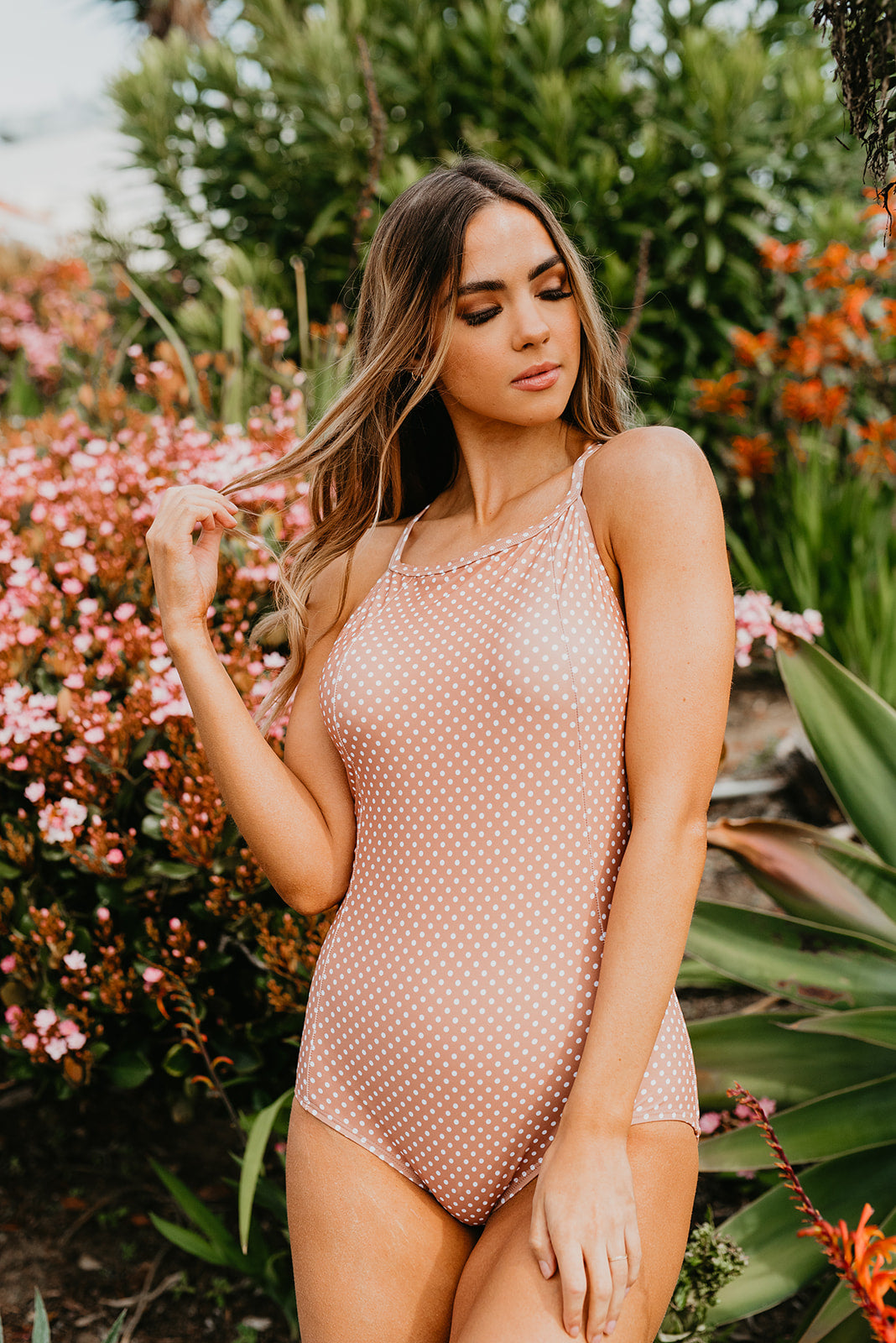 PINK DESERT LACED UP ONE PIECE SWIMSUIT IN MOCHA DOT