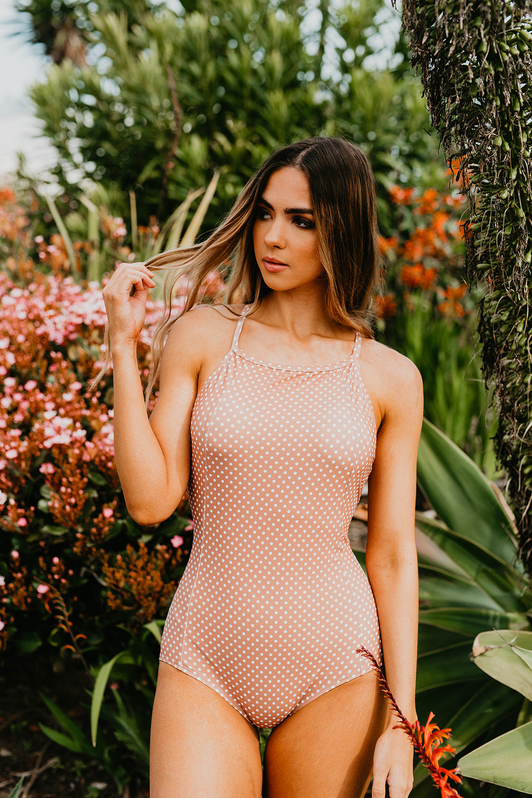 PINK DESERT LACED UP ONE PIECE IN MOCHA DOT