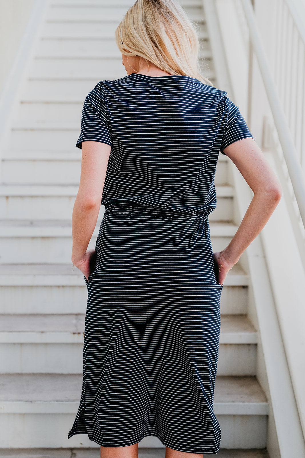 THE EVERMORE STRIPED MIDI DRESS IN NAVY