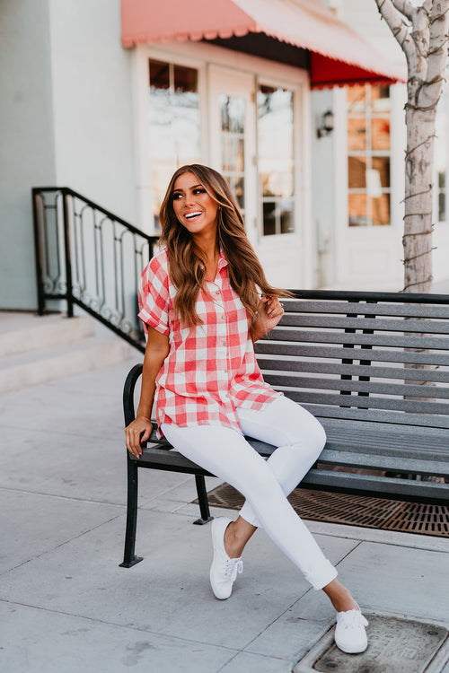 THE RENEE GINGHAM TOP IN RED
