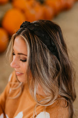 THE BRAIDED SATIN HEADBAND IN BLACK