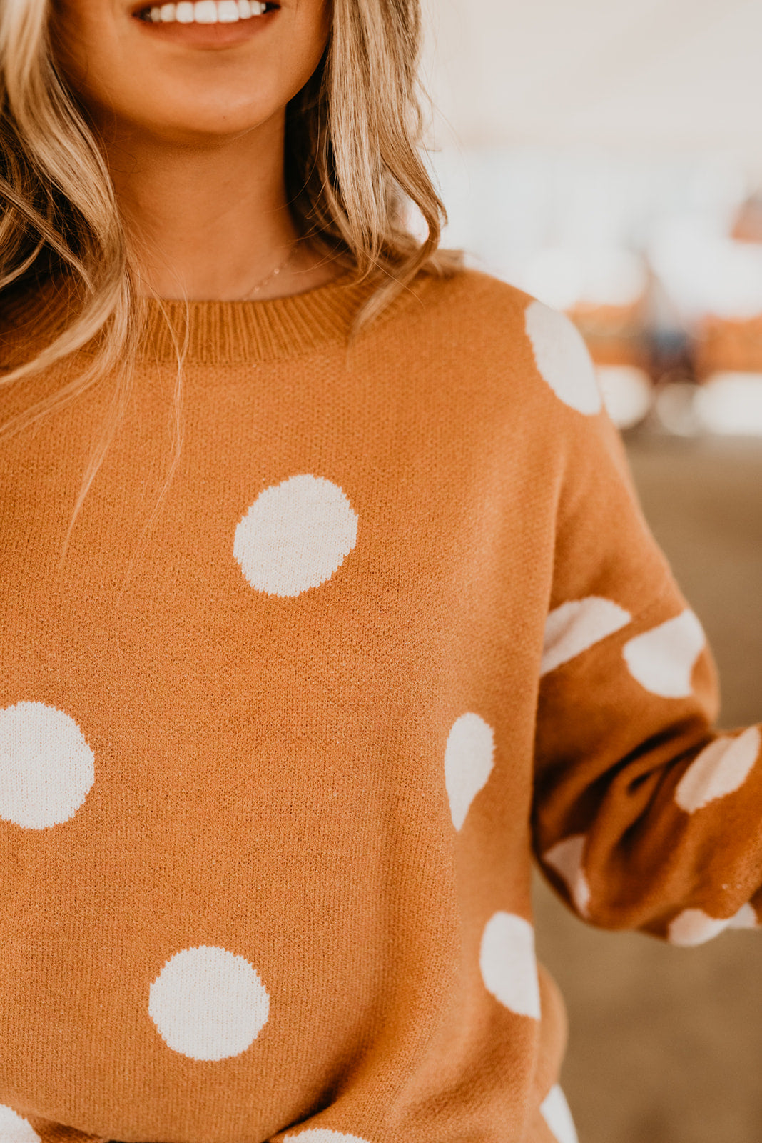 THE CHARLOTTE POLKA DOT SWEATER IN MARIGOLD