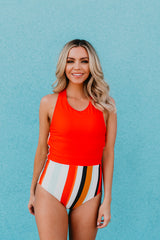 PINK DESERT HIGH NECK COLOR BLOCK ONE PIECE SWIMSUIT IN POPPY & TEXTURED STRIPE