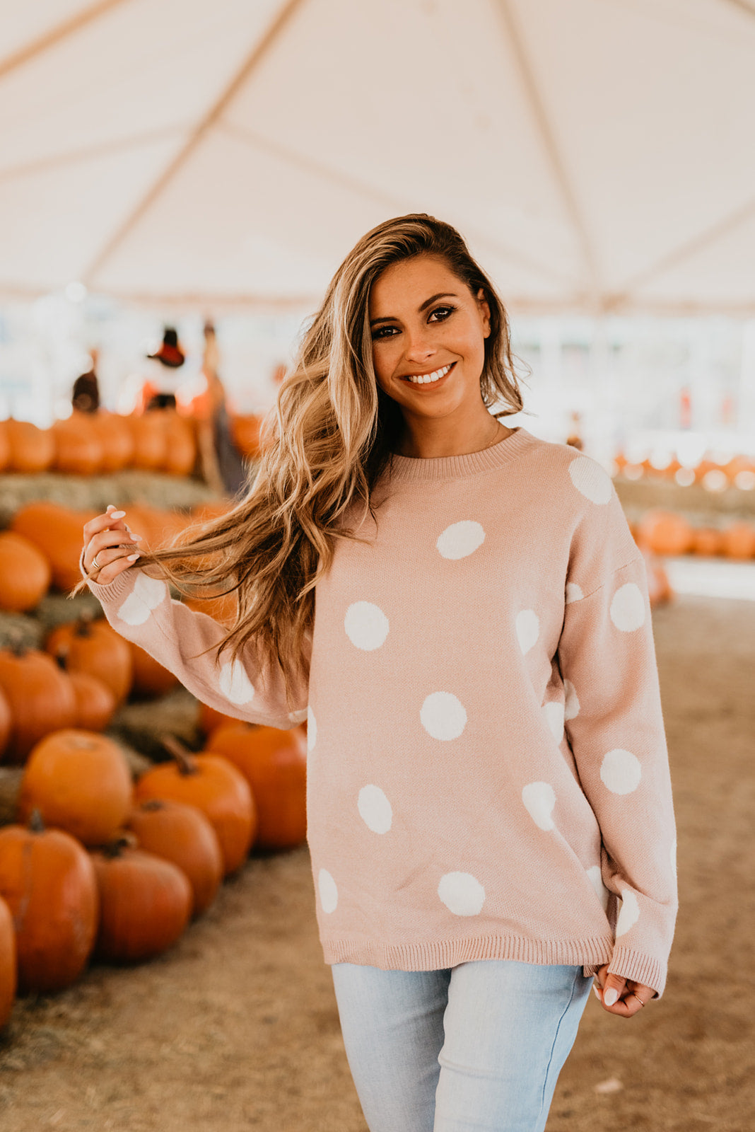 THE CHARLOTTE POLKA DOT SWEATER IN MAUVE