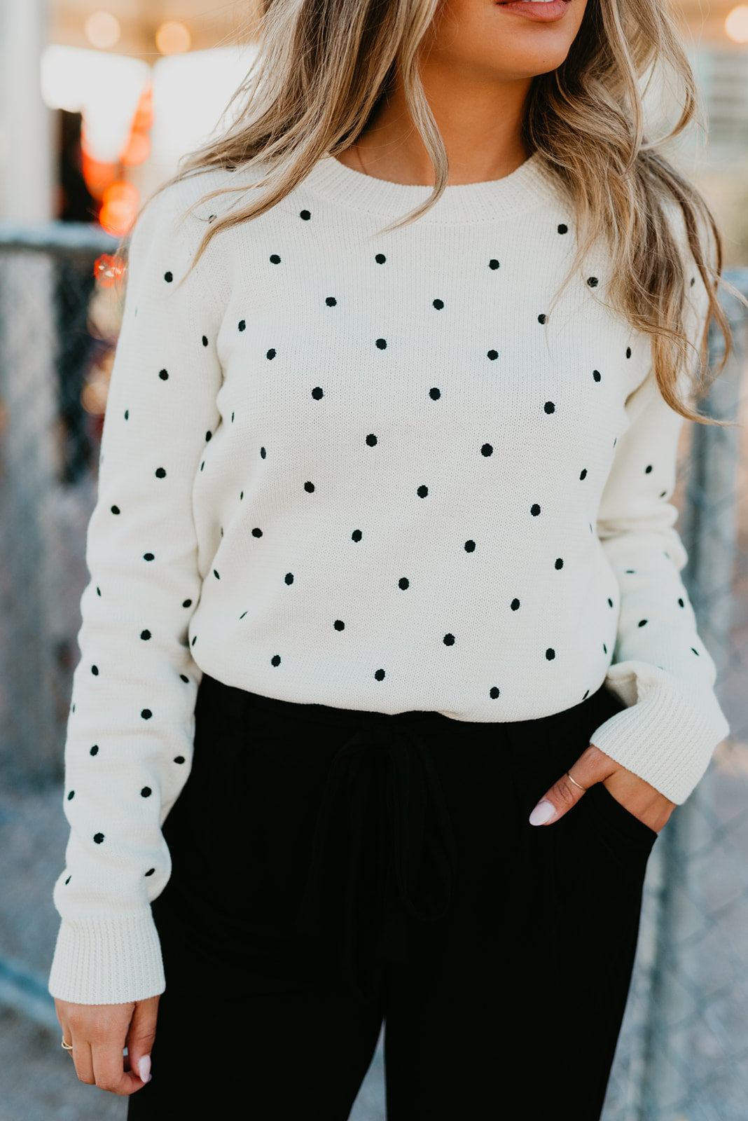 THE DANA DOT LONG SLEEVE IN CREAM