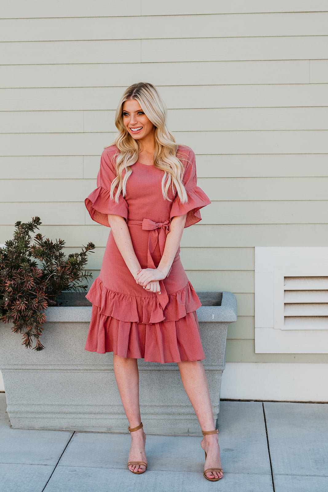 THE CAMILA RUFFLE MIDI DRESS IN ROSE