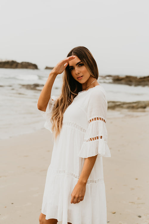THE CABO LACE BABYDOLL DRESS IN IVORY