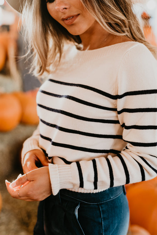 THE LUCY NAVY STRIPE SWEATER IN IVORY