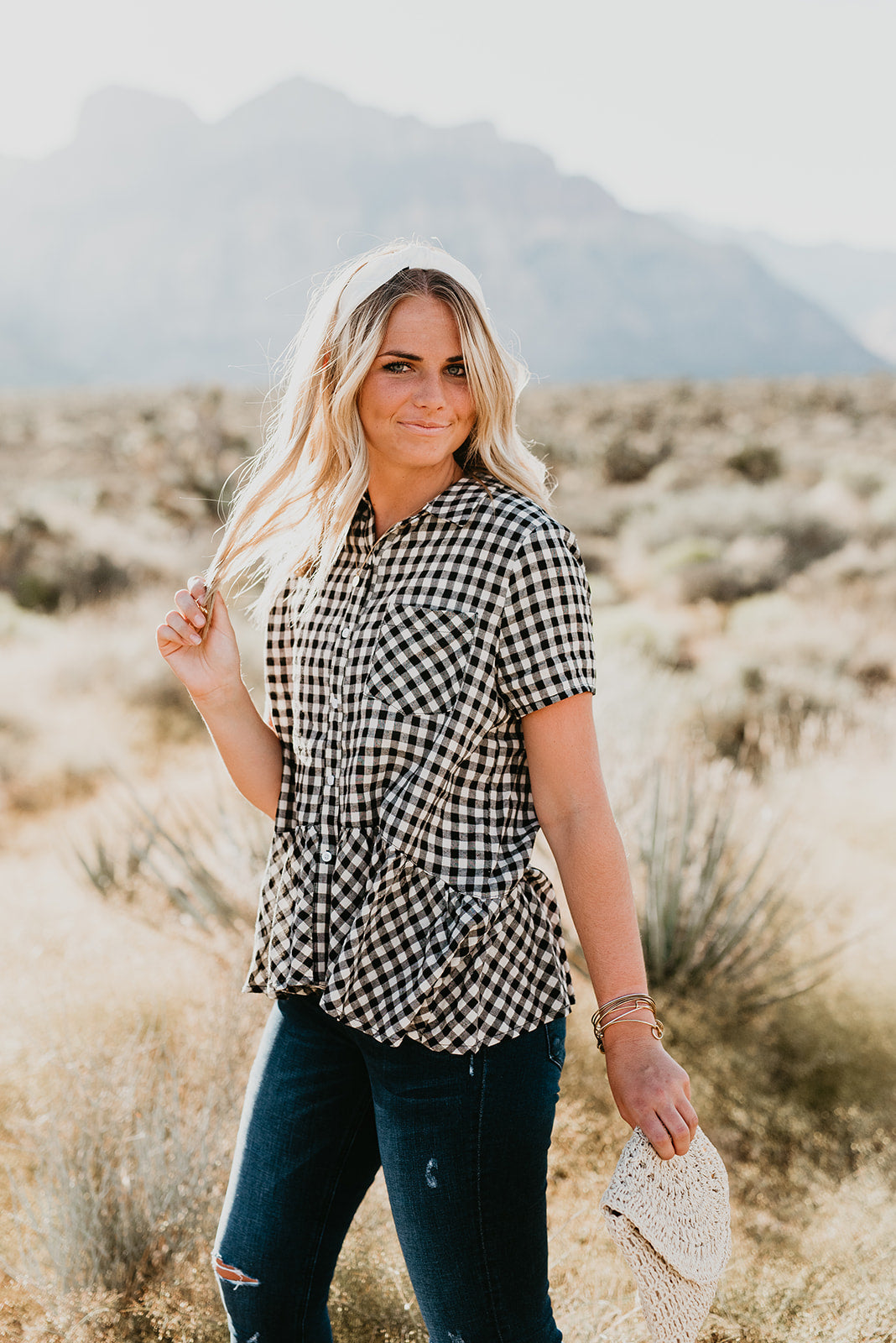 THE SAMANTHA BUTTON DOWN PEPLUM IN GINGHAM