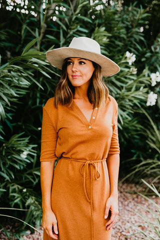 THE BRIANNE BUTTON DOWN LONG SLEEVE MAXI DRESS IN RUST