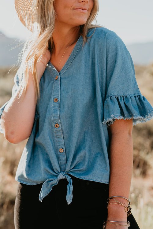 THE TORI TIED BUTTON DOWN TOP IN DENIM