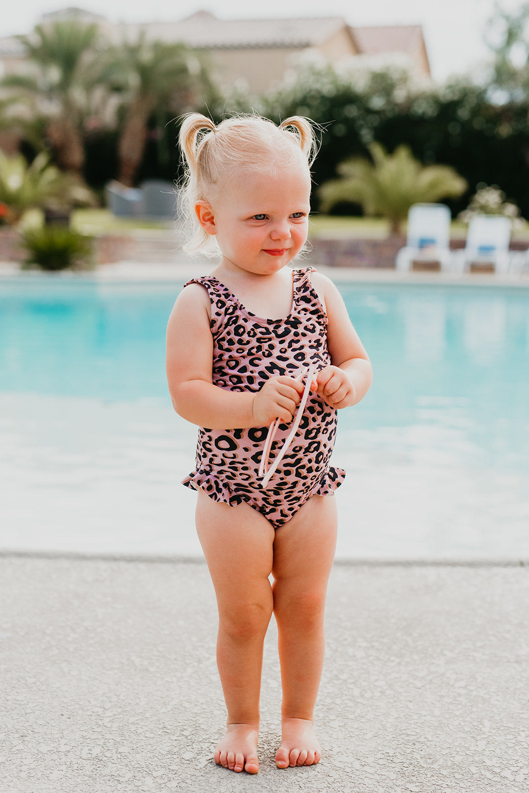 PINK DESERT MINI RUFFLE LEG SCOOP ONE PIECE SWIMSUIT IN MAUVE LEOPARD