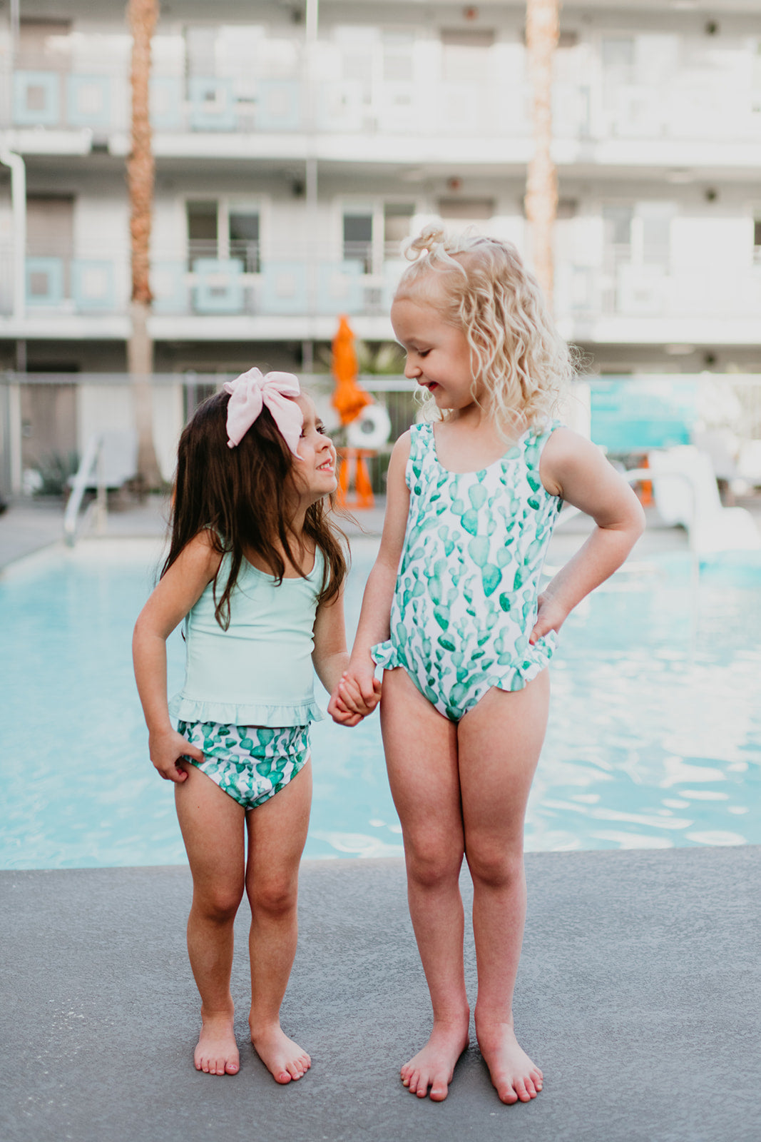 PINK DESERT GIRLS MINI RUFFLE PEPLUM SWIMSUIT SET IN AQUA AND CACTUS