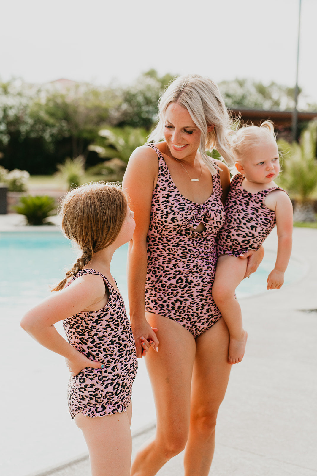 PINK DESERT TIE FRONT ONE PIECE SWIMSUIT IN MAUVE LEOPARD