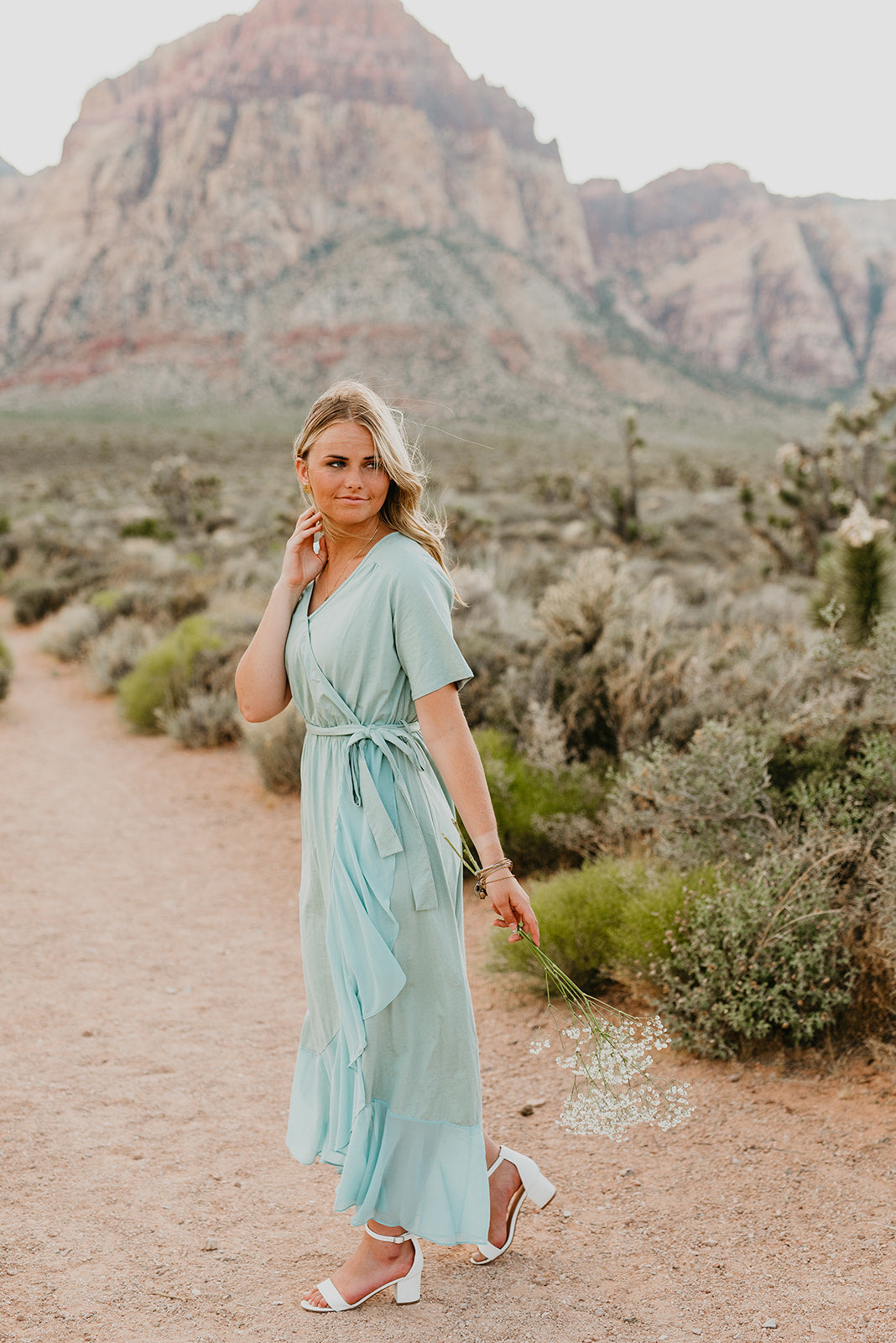 THE LEO RUFFLE WRAP MAXI DRESS IN SAGE