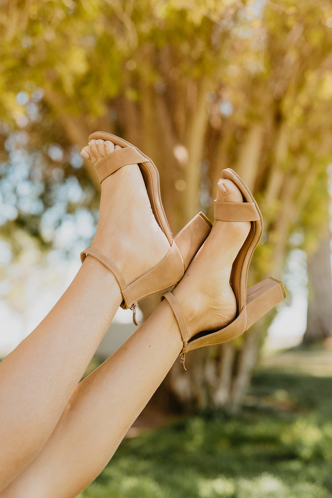 THE GAYLE ANKLE STRAP HEEL IN NATURAL