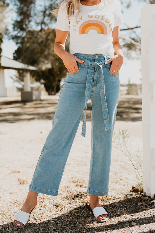 THE DAKOTA TIE PANT IN MEDIUM DENIM