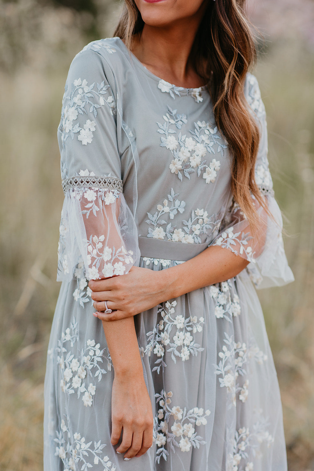 THE FULL BLOOM EMBROIDERED DRESS IN GREY