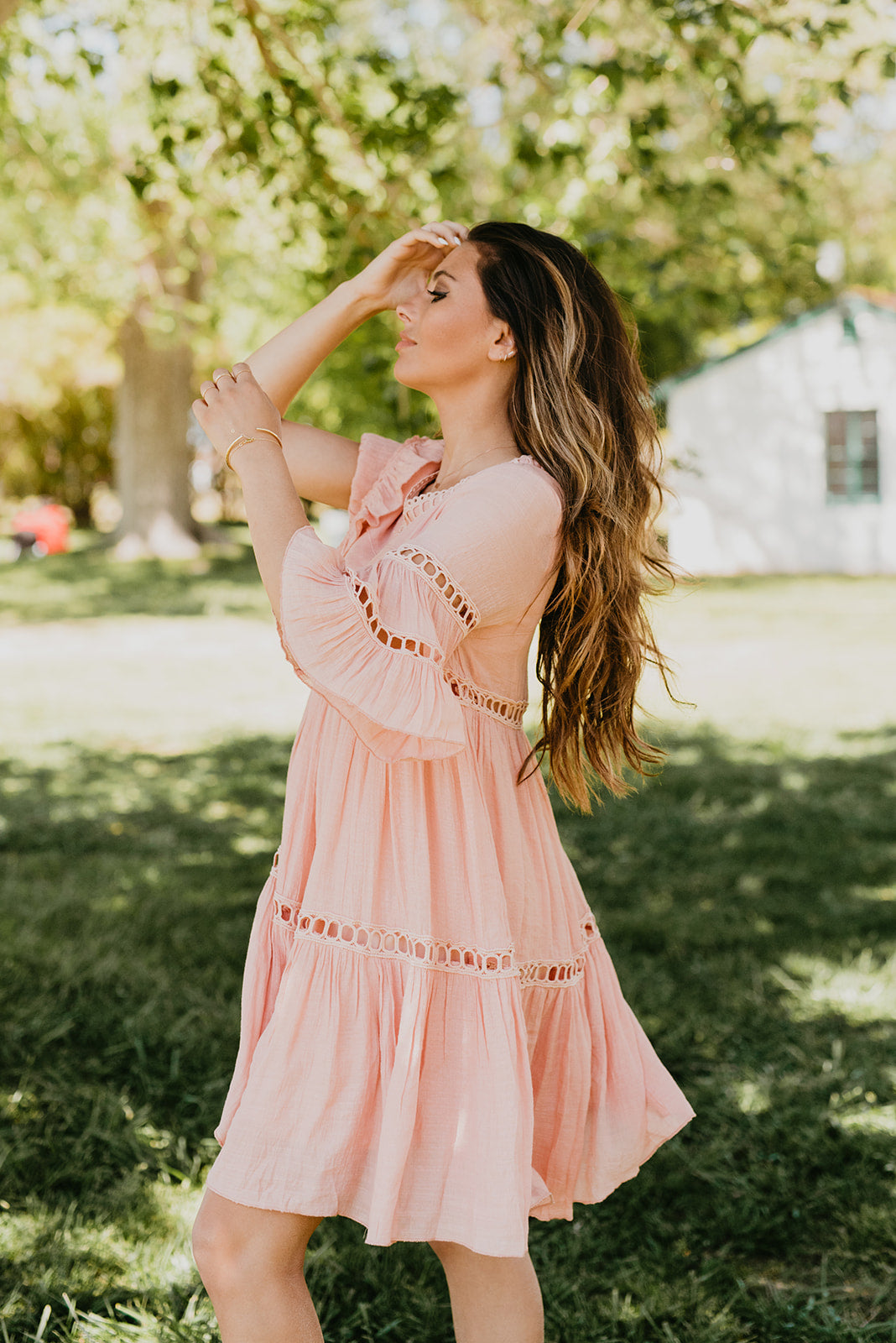 THE CABO LACE BABYDOLL DRESS IN PINK