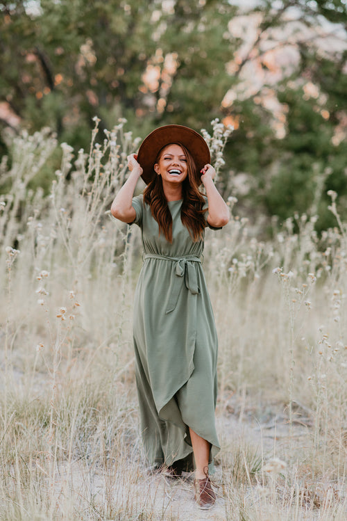 THE SELENA WRAP MAXI DRESS IN OLIVE