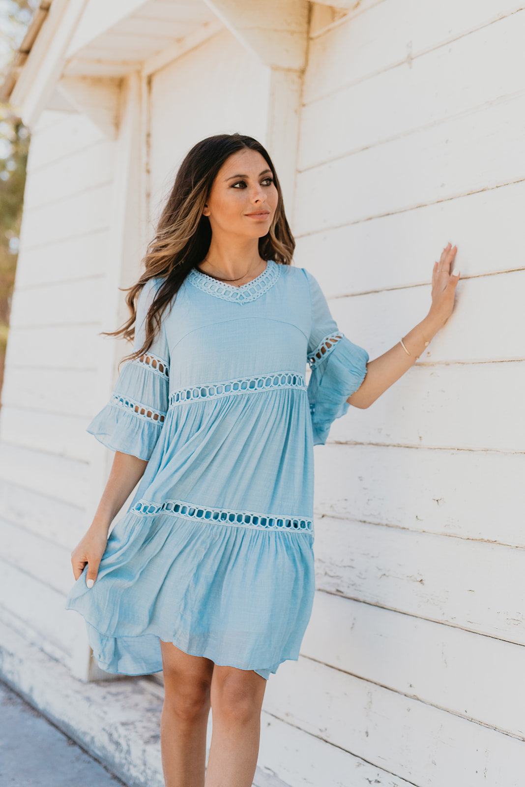 THE CABO LACE BABYDOLL DRESS IN MISTY BLUE