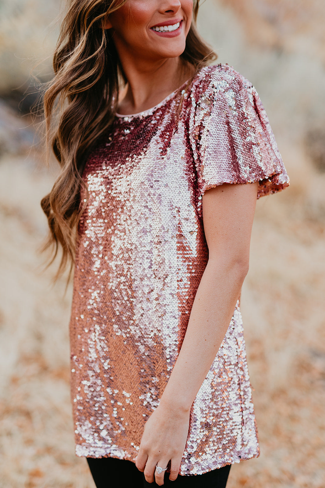 THE MUST BE SEEN SEQUIN TOP IN ROSE GOLD