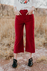 THE CORDUROY WIDE LEG PANT IN BERRY