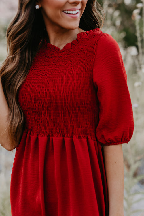 THE SHAYLA SMOCK DRESS IN SCARLETT