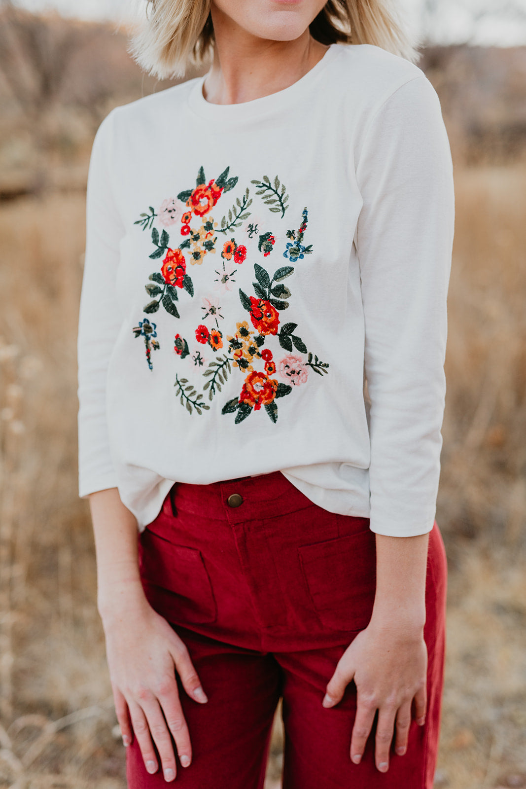 THE ELIZA EMBROIDERED TOP IN IVORY