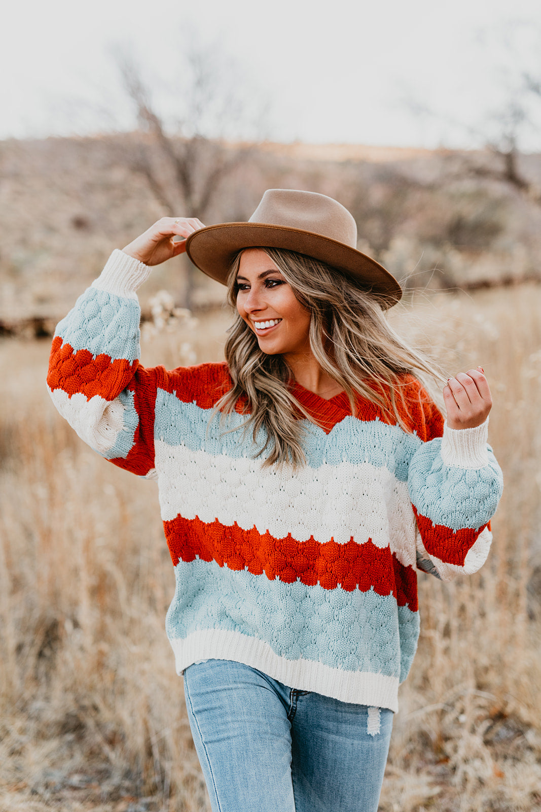 THE STEPHANIE V-NECK SWEATER IN MULTI