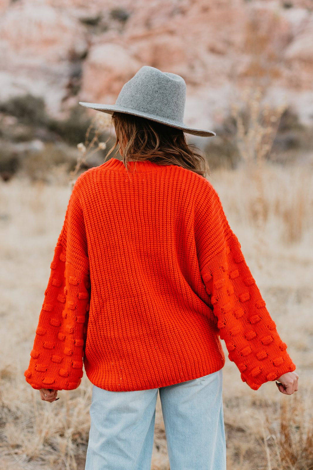 THE JUNE SWEATER IN CORAL