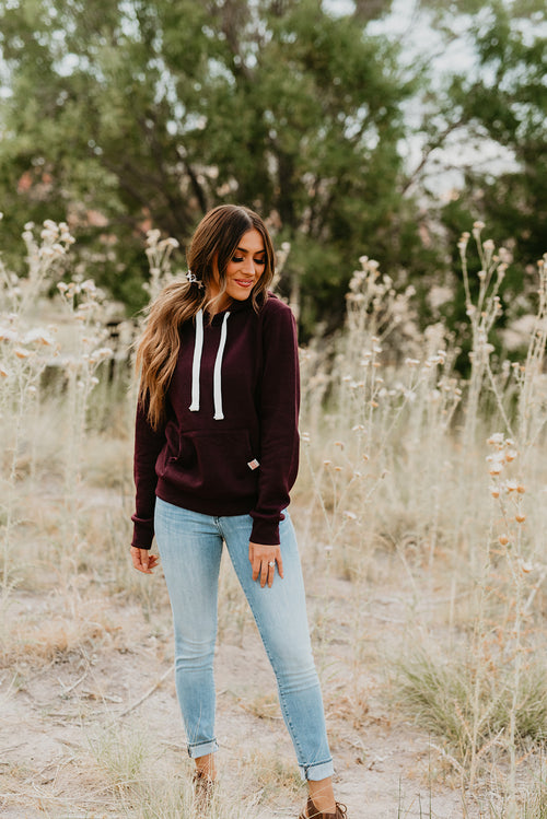 THE KRYSTAL KNIT PULLOVER HOODIE IN PLUM