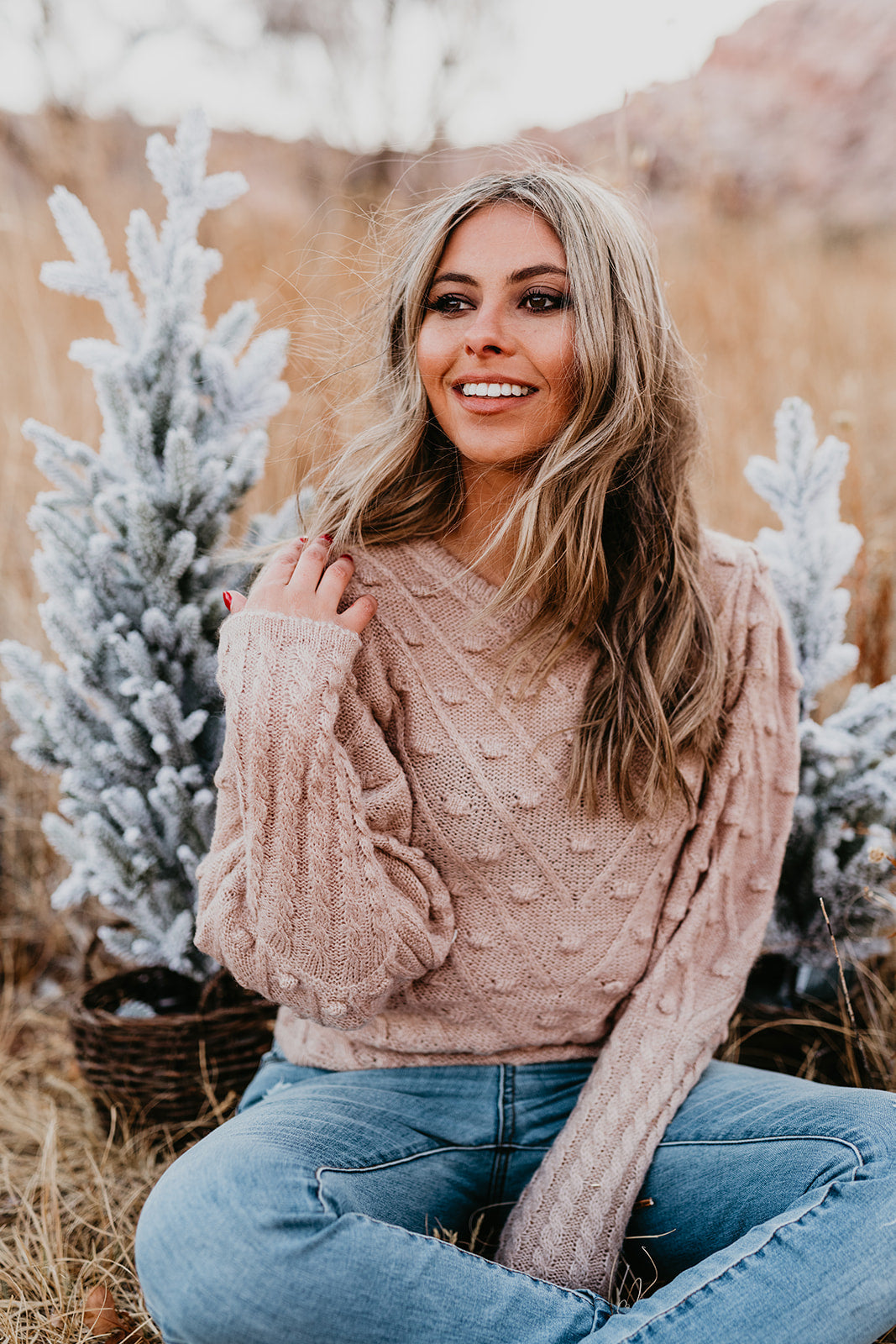 THE CHARITY POM SWEATER IN TAUPE