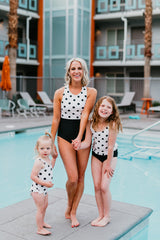 PINK DESERT HIGH NECK COLOR BLOCK ONE PIECE SWIMSUIT IN POLKA DOT & BLACK