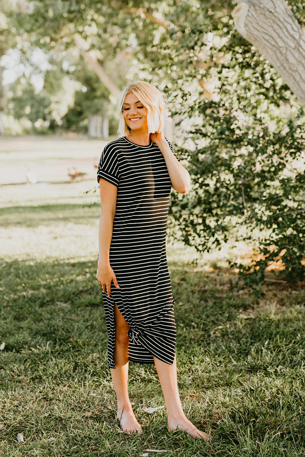 THE QUINN STRIPE MAXI IN BLACK