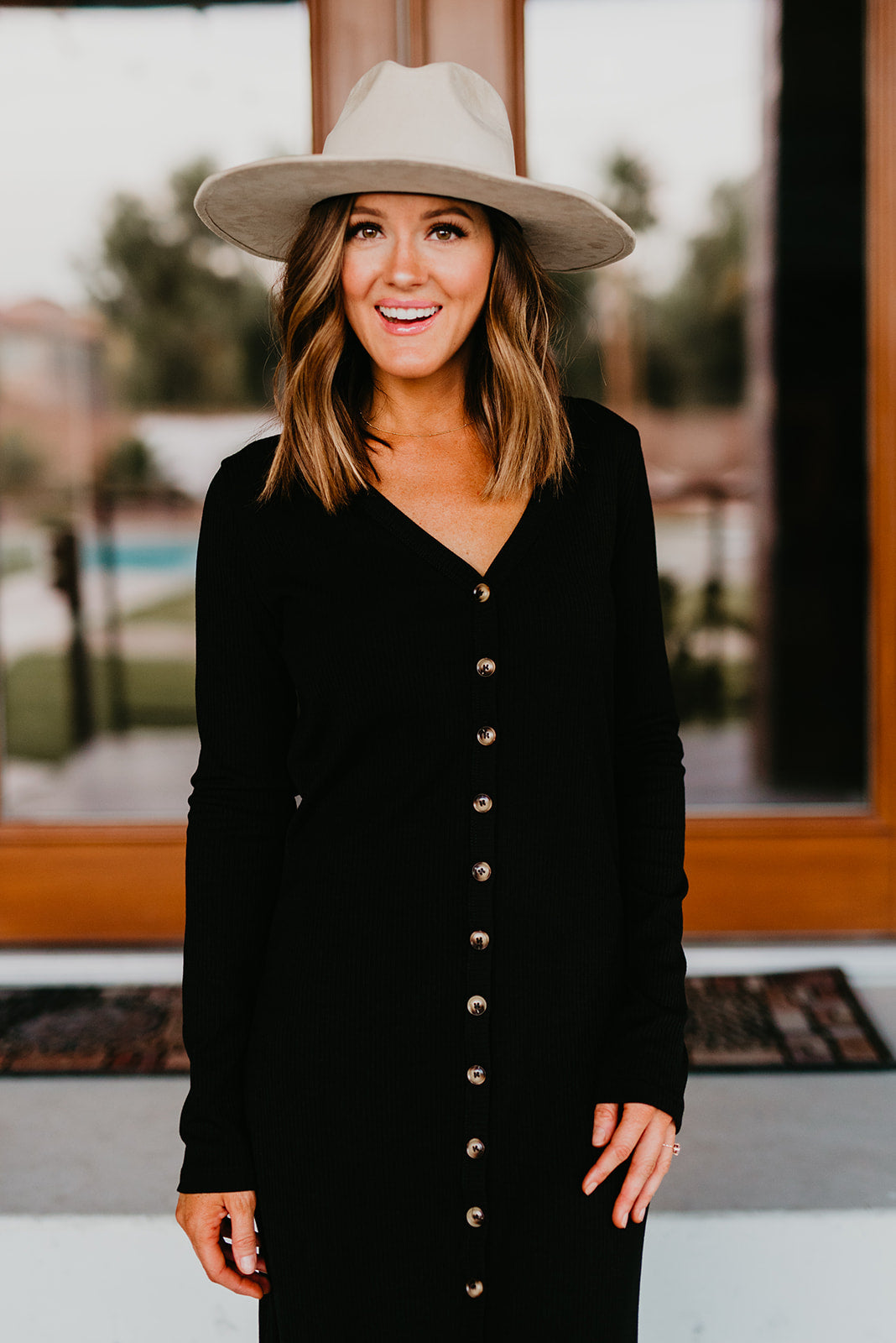 THE BRIANNE BUTTON DOWN LONG SLEEVE MAXI DRESS IN BLACK